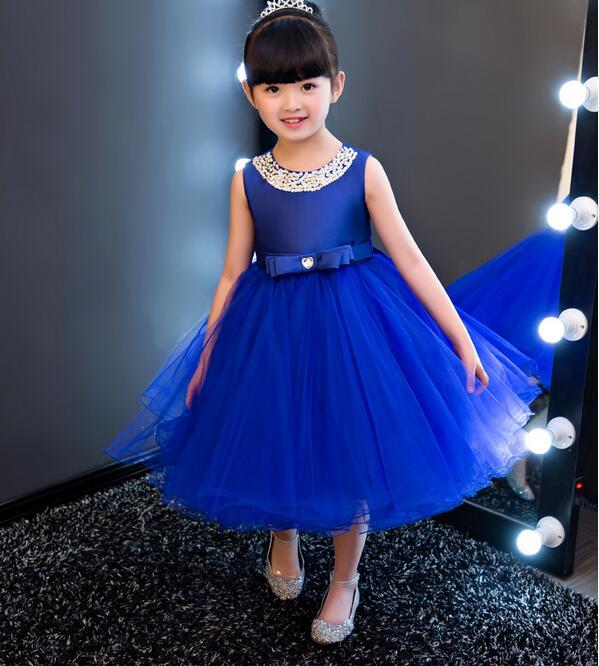 vestidos Royal blue Kids Girls Party Wedding flower girl Dress Baby Girl Dress Bead Bow Prom