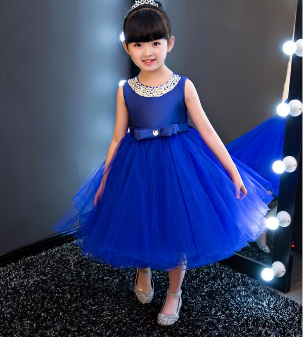 vestidos Royal blue Kids Girls Party Wedding flower girl Dress Baby Girl Dress Bead Bow Prom Formal Dress First Communion Gown vestidos de first communion sleeveless ruffles flower girl dress little princess first communion dress wedding party hw1074