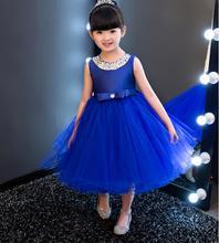 vestidos Royal blue Kids Girls Party Wedding flower girl Dress Baby Girl Dress Bead Bow Prom Formal Dress First Communion Gown