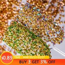 Glitter Crystal Rhinestones for Nails Gold Green UV Manicure