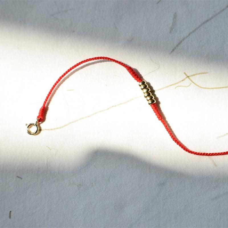 18 k or plat perle Bracelet diamant noeud rouge corde or queue boucle tissé à la main rouge corde vacances exquis cadeau Bracelet cheville