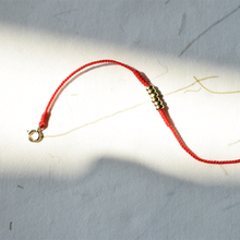18k Gold Flat Bead Bracelet Diamond Knot Red Rope Tail Buckle Hand-woven Holiday Exquisite Gift Anklet