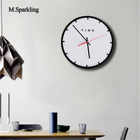 M.Sparkling black and white wall clock electronic brief bedroom round wall clock for home or restaurant unique gift for wedding