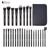 DUcare 27PCS Makeup Brushes Foundation Powder Eyeshadow Highlight Contour Eyebrow Brush Natural Hair Makeup Brush Kit with Case