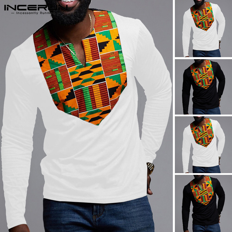 INCERUN 2020 Long Sleeve Print African Men's Slim Shirt V-neck Fashion Basic Casual Street Dress Pullover Soft Camisa Masculina