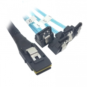 100pcs/lot 100cm Mini SAS 4i SFF-8087 36 Pin Host to 90 Degree Angled 4 SATA 7Pin Target HDD Hard Drive Splitter Cable 10Gbps
