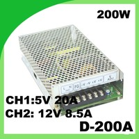 110 / 220VAC 200W power supply D 200A 5V 20A & 12V 8.5A miniature power supply with dual switching output