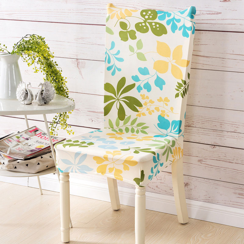 1pc Durable Spandex Polyester Stretch Chair Cover Dustproof Beautiful  Tropical Flowers Pattern Party Hotel Dining Seat Cover