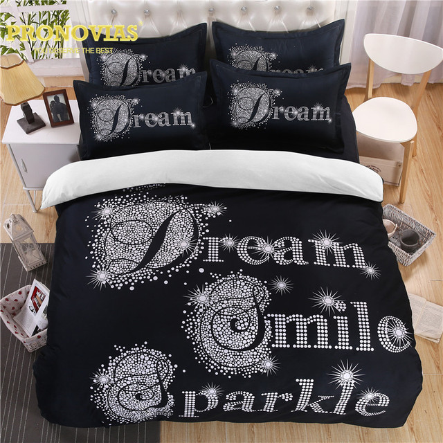 Ovias Black N White Dream Smiles Duvet Cover Set King Queen Size Modern Bed Linen