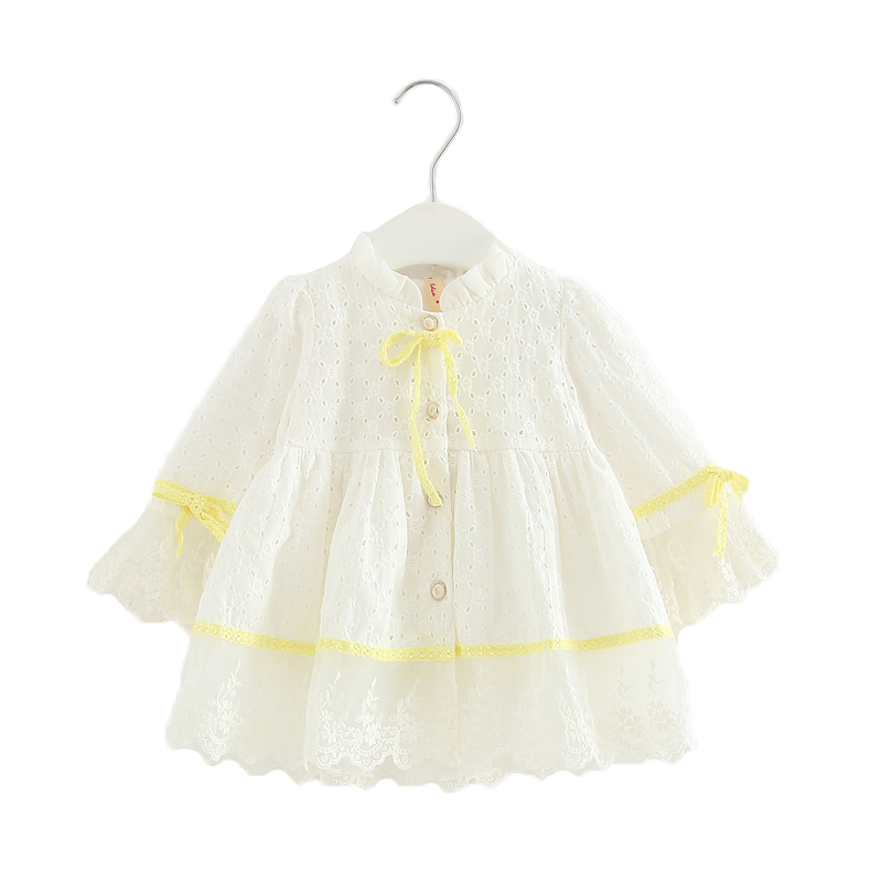 Spring Baby Girls Dress Long-Sleeve Embroidery Princess Party Birthday Dress Kids Clothes Children Dresses For 0-2T pink white autumn spring children s clothes red pink purple color girls dress long sleeve princess tutu dress cute vestidos for kids 3 12t