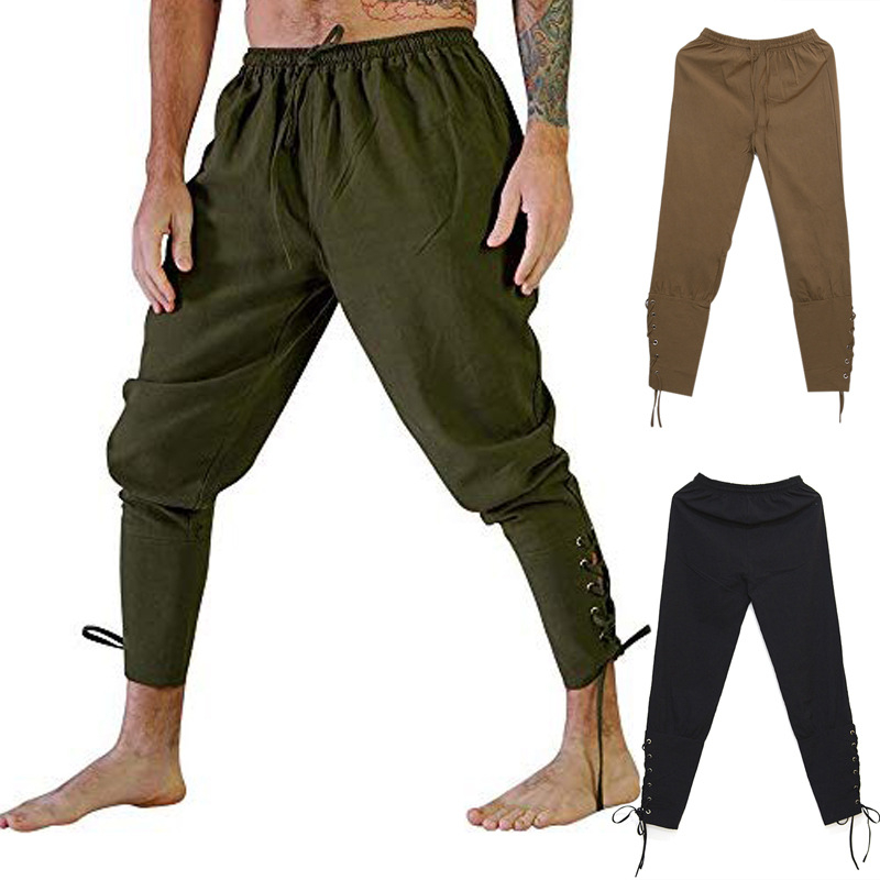 Halloween Cosplay Men's Medieval Renaissance Pirate Knight Costume Loose Multi-Color Leg Bandage Pants Viking Warrior Wear