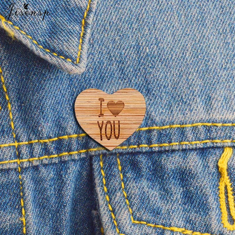 Heart pin with message I love you - graphic brooch - romantic accessory - not another enamel pin - graphic accessory - lasercut maple wood