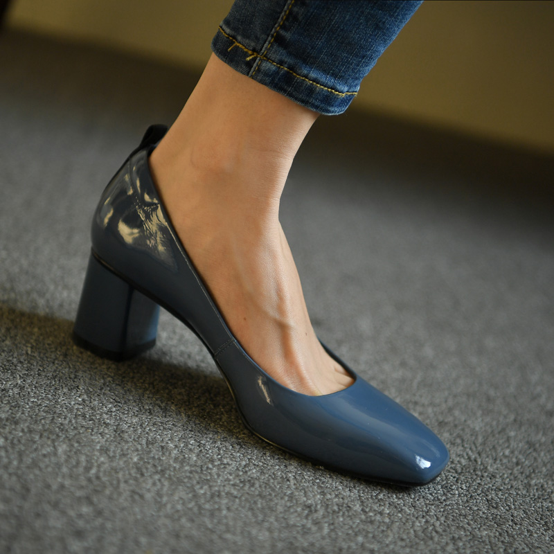 ISNOM Genuine Leather Pumps Women Square Toe Footwear Shallow Office Shoes Female Fashion Chunky Heels 2 Inch Woman Autumn 2020