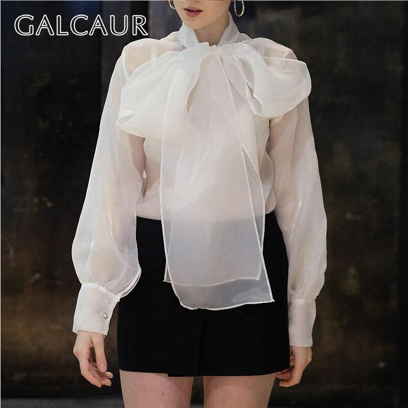 GALCAUR Spring Solid Perspective Blouse For Women Bowknot Lantern Sleeve Big Size Shirt Female Elegant Fashion 2019 New Tide