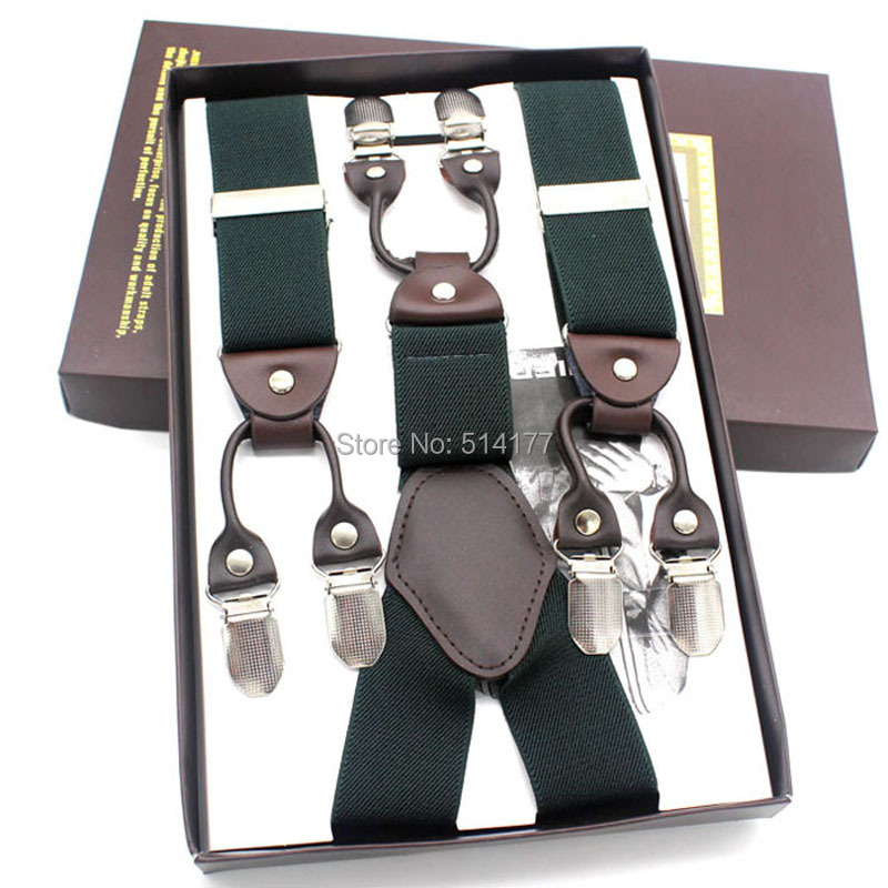 2016 new Fashion Mans suspenders 6clips braces solid color Width:3.5m Length:118cm For Husbands/Father/Grandfather Gifts