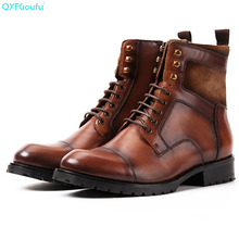 QYFCIOUFU Vintage Handmade Designer Martins Boots Fashion Luxury Winter Genuine Leather Lace Up Mens Ankle