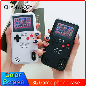 Pantalla a Color 36 clásico juego caja del teléfono para iPhone 11 Pro X XS X Max XR 6S 6 7 8 Plus juego de consola niño suave TPU funda de silicona