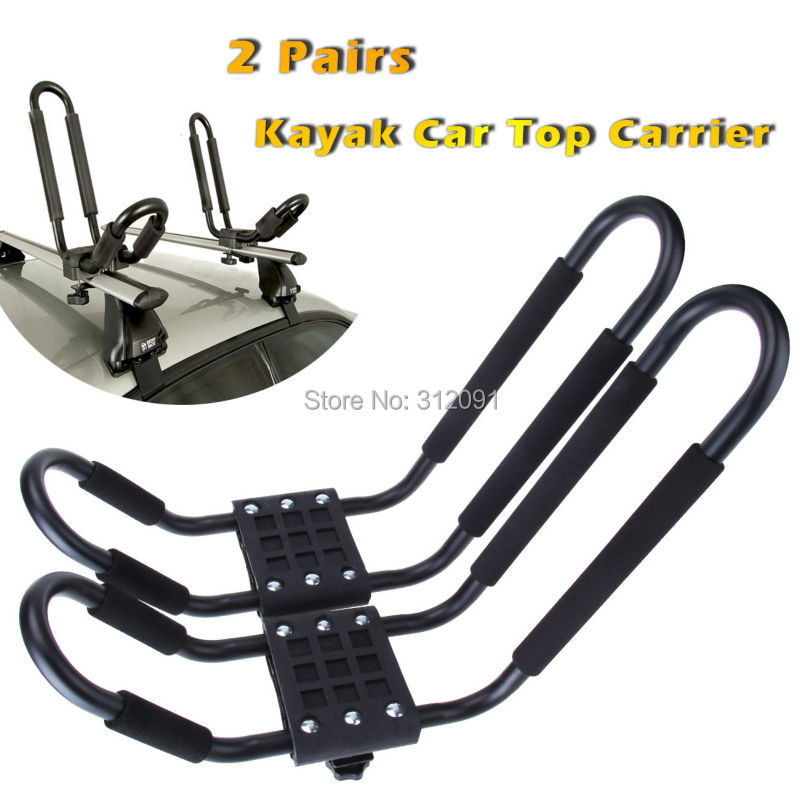 2 pcs Snowboard Kayak Carrier Boat Canoe Surf Ski Board Roof J-Bar J Bar Rack