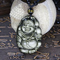 Beautiful Natural Gold Obsidian Hand Carved Handmade Laughing Buddha Lucky Pendant + free Beads Necklace Fine Jade Jewelry