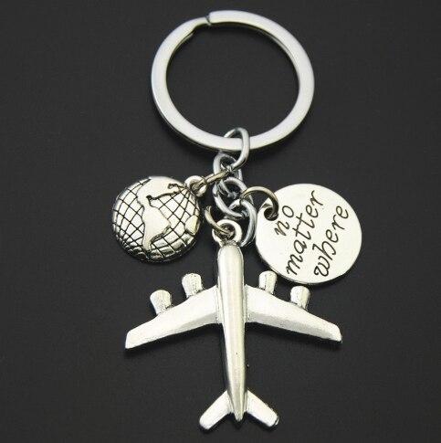 1pc Earth Airplane Keychains No Matter Where Pendant Travel Keyring Friendship Handmade Jewelry Diy Gift For Traveler