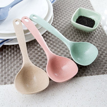 1Pc Wheat Straw Soup Spoon 4 Colors household Long Handle Porridge Spoon Rice Ladle Tableware Meal Dinner Scoops Kitchen Tools(China)