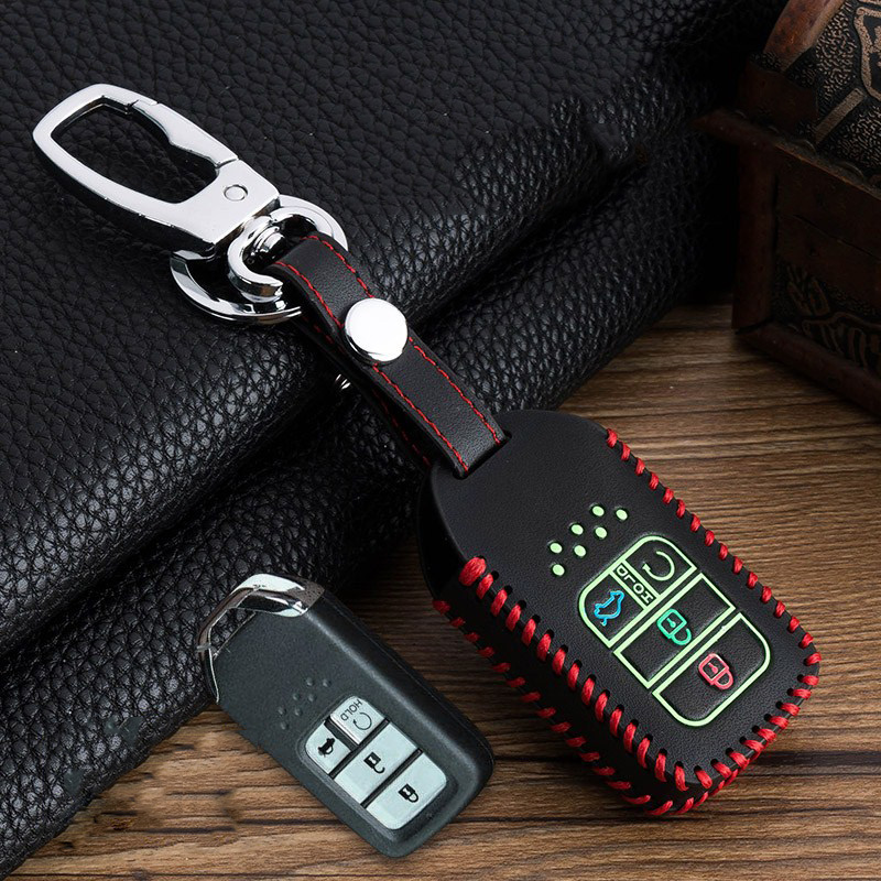 Image 3 - Hand sewing Luminous Leather Smart  Car Key Protect Cover Case For Honda Civic Accord EX EXL Crv Crz Hrv Shell Accessories-in Key Case for Car from Automobiles & Motorcycles