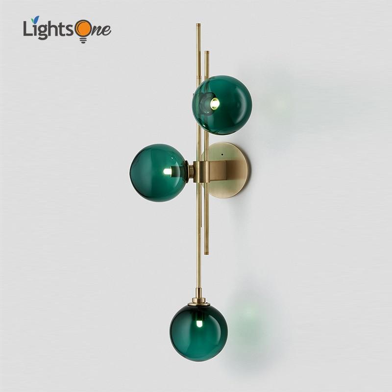 American Minimalist Living Room Creative Glass Wall Lamp Nordic Study Blue Designer Wall Light