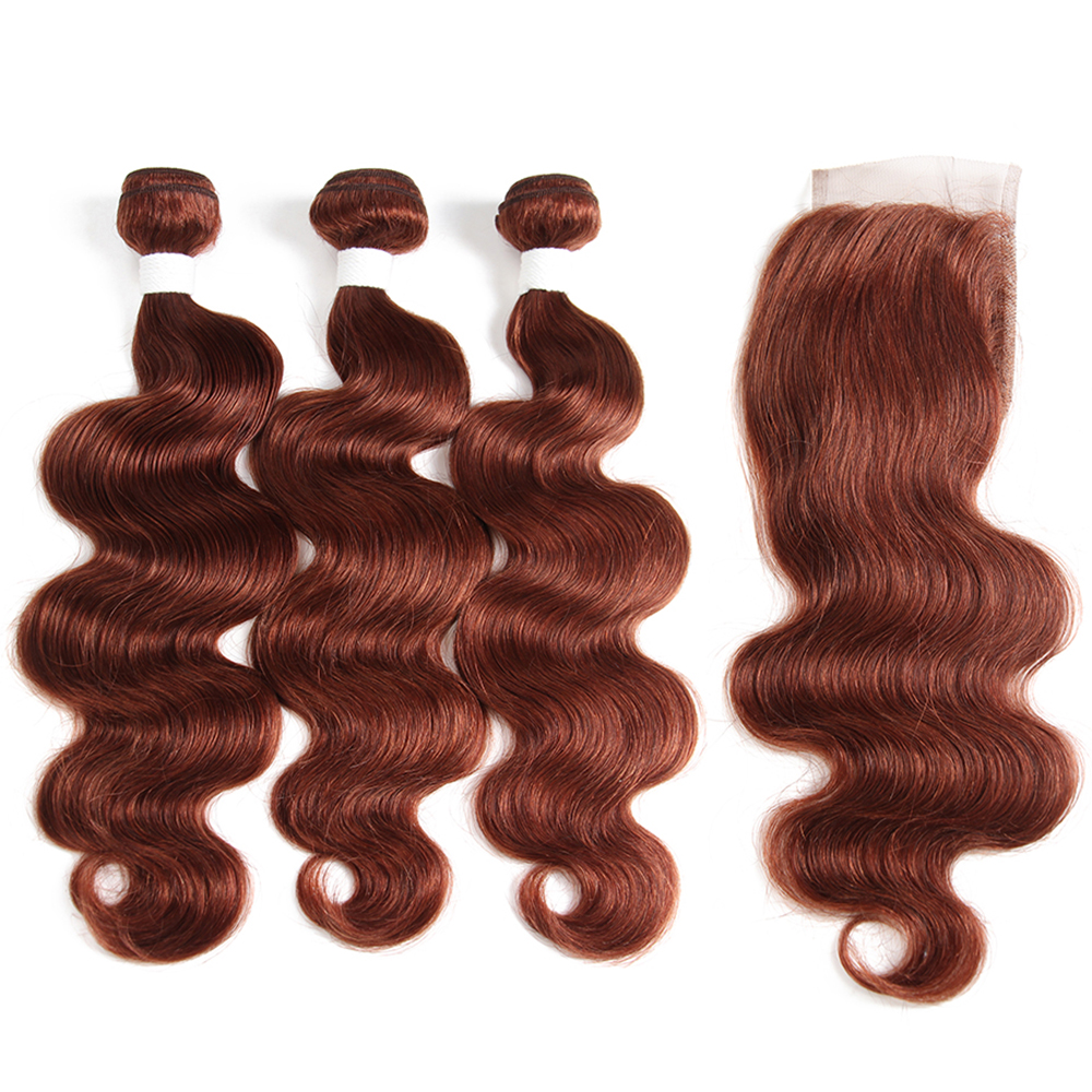 Body Wave Bundles With Closure 4*4 Brown Auburn 3 PCS Human Hair Bundles With Closure SOKU Non-Remy Hair Weave Extensions