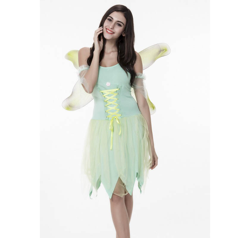 Adult Women Halloween Idea Jungle Fairy Costume Female Fancy Dress Green Fairy Butterfly Wings Performance Outfit Set For Ladies