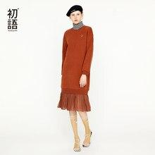 f133d1d3c022127 Toyouth осень o-образным вырезом свободные приталенное платье-Толстовка  Повседневное до колена Длина с длинным рукавом элегантны.