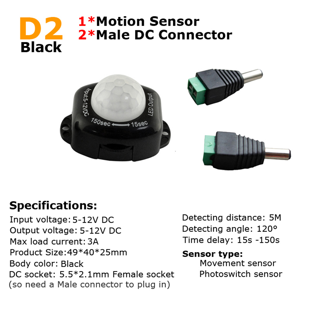 Motion Sensor Light Switch 12v Pir 24v 5v Movement Detector Gerak Manusia Timer Infrared Automatic On Off Outdoor In Switches From Lights
