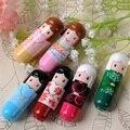 6 pçs/lote Presente Mais Novo 6 cores Lábio Smacker lip Balm Adorável Kimono Pattern Boneca Colorida Maquiagem Menina Lip Balm Batom Lipbalm
