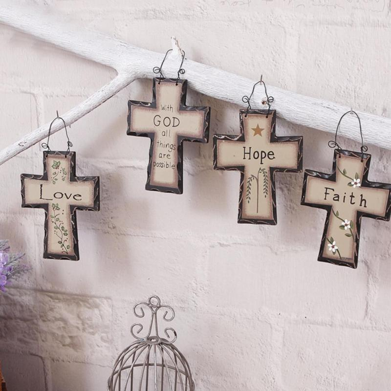 1PC Wooden Cross Gift Trendy Wood Craft Souvenir Travel Cross Hanging Accessories Religious Car Wall Ornament Home decor X#E