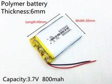 Litro de Energia DA Bateria 3.7 V 800 Mah Recarregável de Polímero Lítio 063040 Gps Navigator Mp3 Speaker Bluetooth 603040