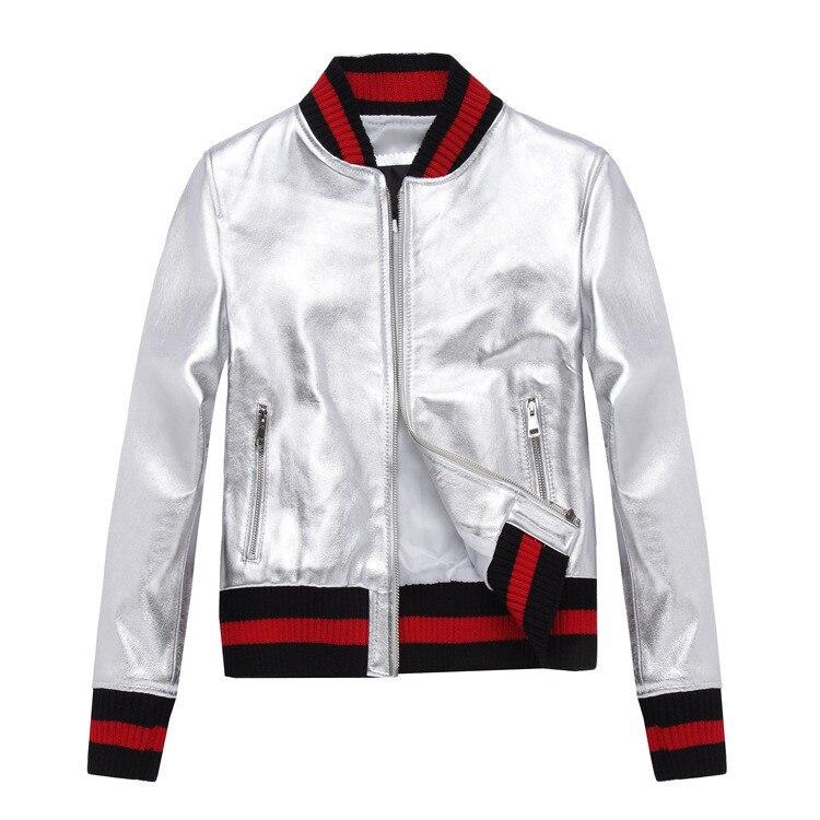 Мода золото/серебро овчины бомбардировщик куртки Chic для женщин Бейсбол Форма пальто из натуральной кожи S531