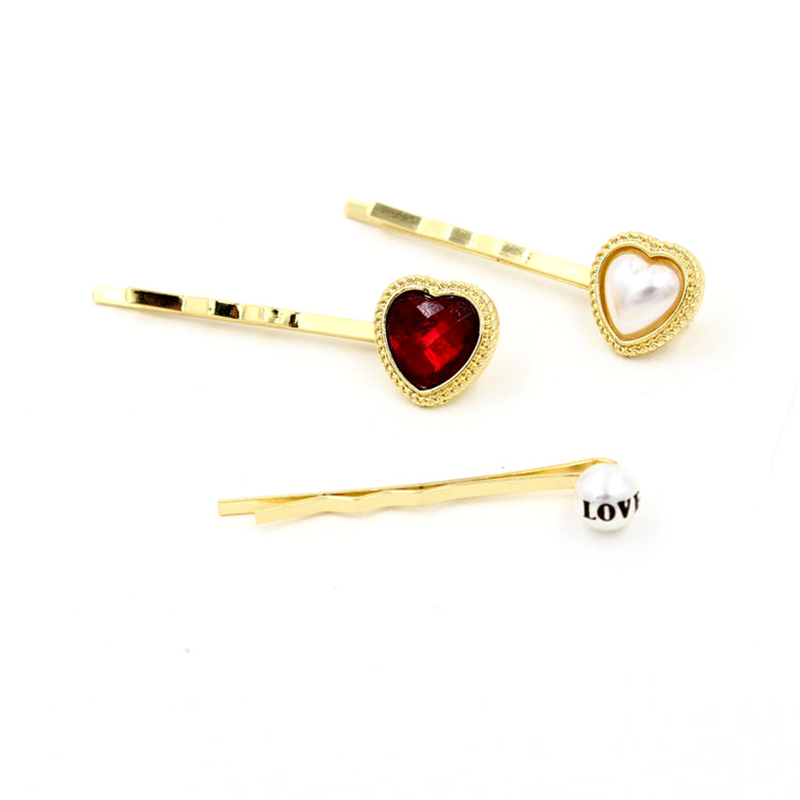 Women Special store fashion gold alloy girl heart shape rhinestone simulated pearl hairpin hair clip children jewelry