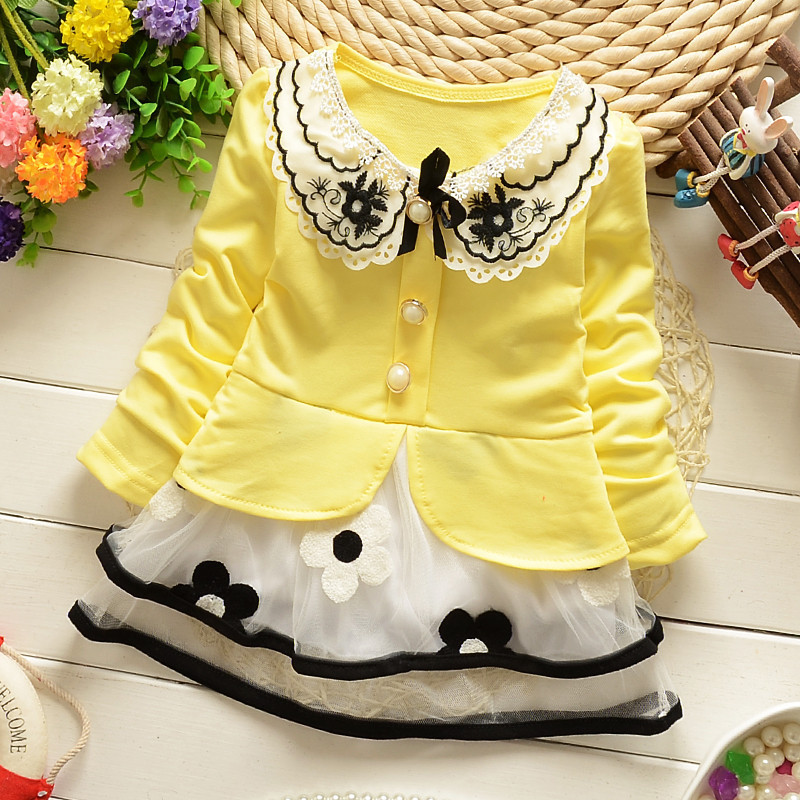 Girls Polka Dot cartoon princess dress Denim floral dress summer dresses Lace Flowers Long Sleeve Kids Free Shipping 3