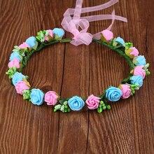 Высокое качество Свадебные девушки венок Цветок Цветочные короны для женщин голова Роза диадема гирлянда Мори девушка серии