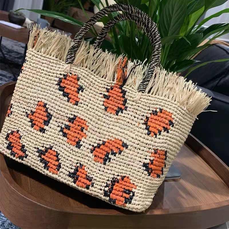 Saco de praia de palha redonda do leopardo saco de ombro tecido artesanal do vintage ráfia círculo rattan sacos boêmio verão férias casual