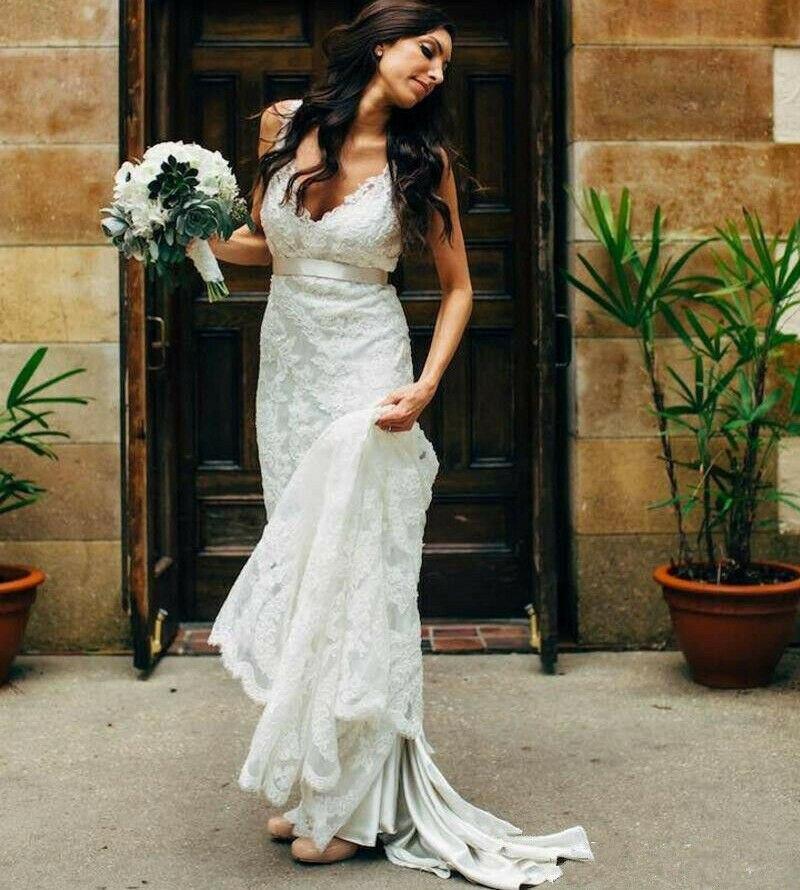 Celebrity Wedding Outfits 2019: ZL1036 New Vintage 2019 V Neck Sheath Lace Retro Wedding