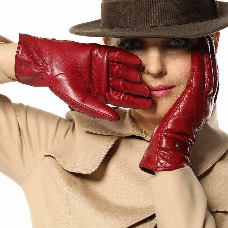 Grado superiore Inverno guanto di pelle di pecora rossa per le signore 1  Paia lotto  3 di colore 388c5e409ed