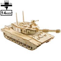 3D Wooden Puzzle Toys Jigsaw Puzzle Montessori Educational Creativity Crafts Gift For Children Adults M1 ABRAMS TANK