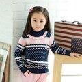 Vestidos Otoño invierno oso arco suéter patrón de suéter de punto de algodón gruesa caliente suéter ropa de las muchachas 3 4 5 6 7 8 9 10 Y