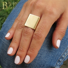BOAKO Trendy Adjustable Wide Rings For Women Gold Party Square Ring Girl Punk Street Snap Minimalist Jewelry K5