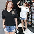 Short Sleeve T-Shirt Female Big Size Tops Mesh Five-pointed Star Tshirt Women Kawaii Clothing Loose Casual V-neck Tees 6177-215
