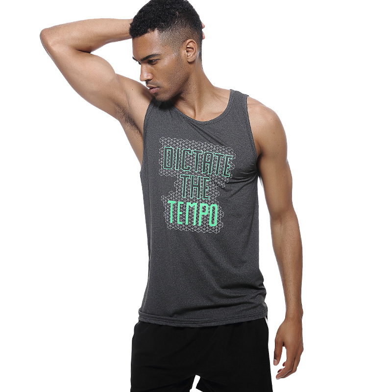 FALIZA Men's   Tank     Tops   Quick Dry Sleeveless Summer Fashion Male Muscle   Tank   Printed Shirts   Top   Tees European Style Slim Fit TX-D