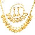 U7 marca elefante lindo del encanto pendiente de la pulsera y collar set lucky animal plateado oro de la joyería para las mujeres regalo s849