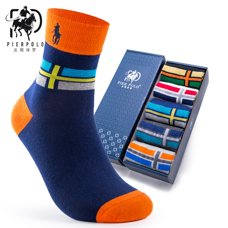PIER POLO men's business brand   socks   autumn and winter cotton tube men   sock   embroidery cross stripes men's fun gift   socks
