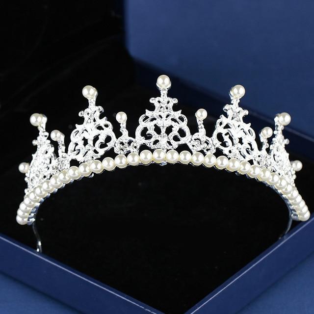 JaneVini 2018 Silver Crystal Jewelry Pearl Wedding Tiara Crown Bride Headpiece Princess Bridal Hair Accessories Haar Sieraden