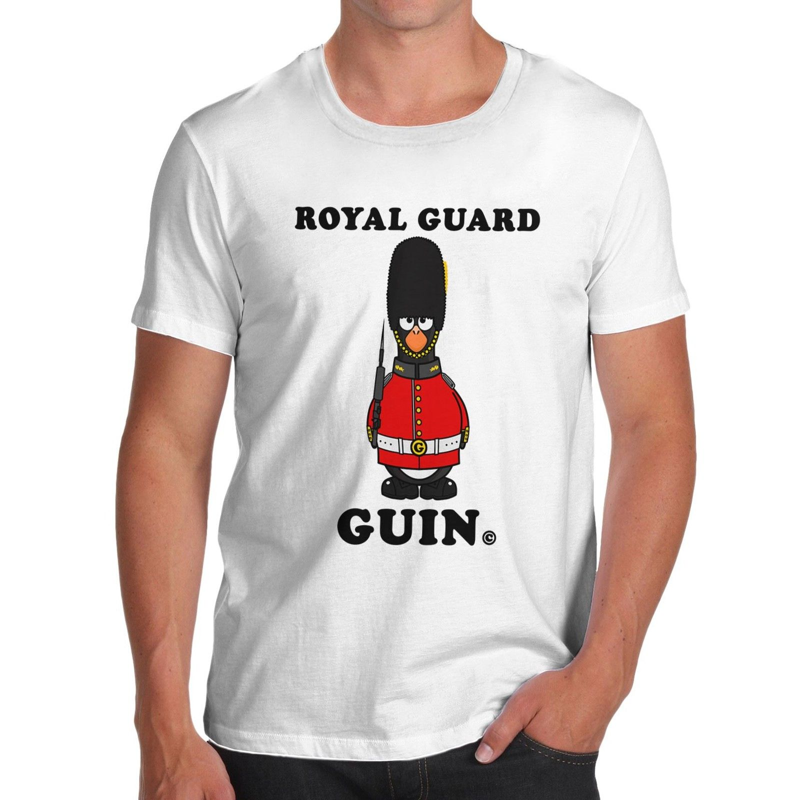 Shirt design london - T Shirt Men Print Mens Cotton Novelty Design London Theme Royal Guard Guin T Shirt White